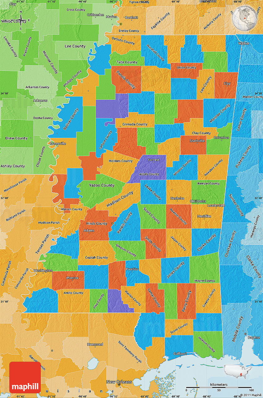 Political Map Of Mississippi Political Shades Outside