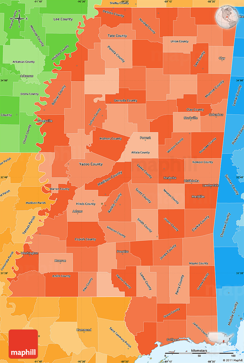 Political Shades Simple Map Of Mississippi