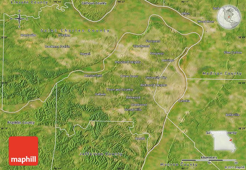 Satellite Map of Saint Louis County