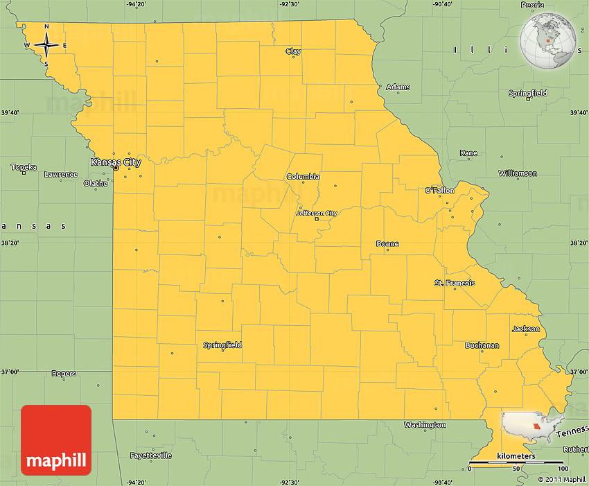 Savanna Style Simple Map Of Missouri - Map of missouri