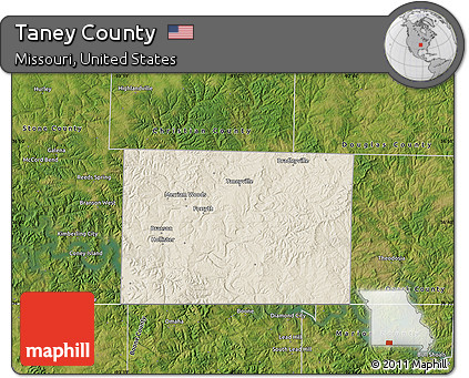 Free Shaded Relief Map of Taney County, satellite outside
