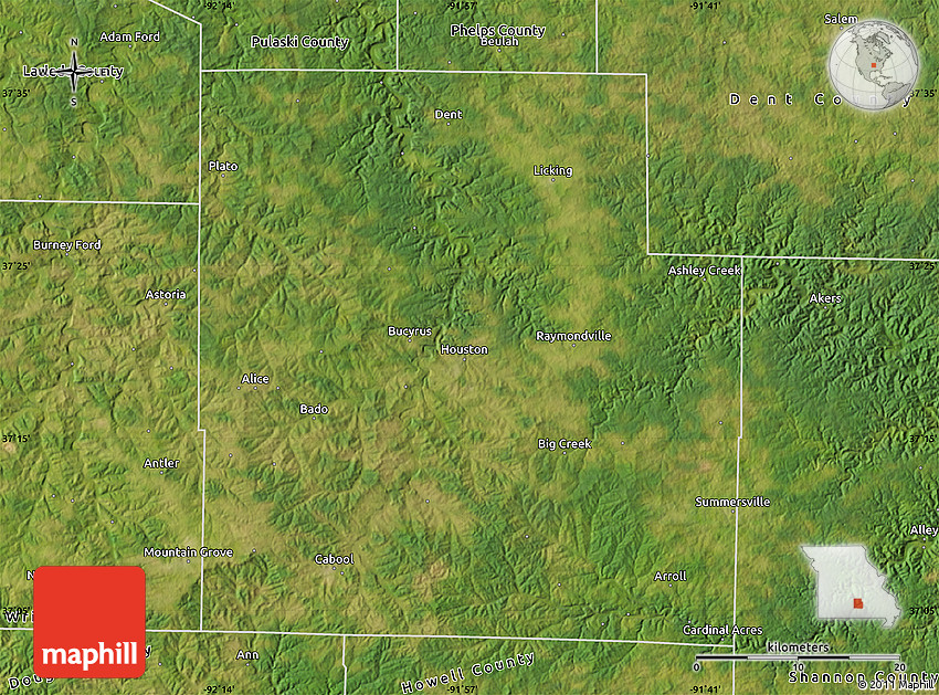 Satellite Map Of Texas County