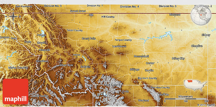 Physical D Map Of Montana - Montana physical map united states