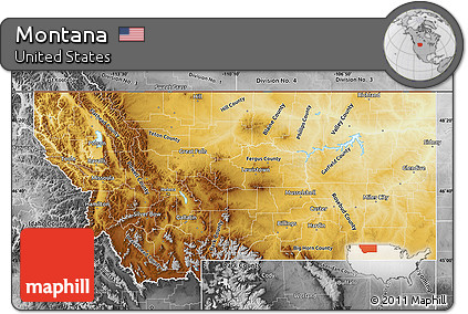 Free Physical Map Of Montana Desaturated - Montana physical map united states