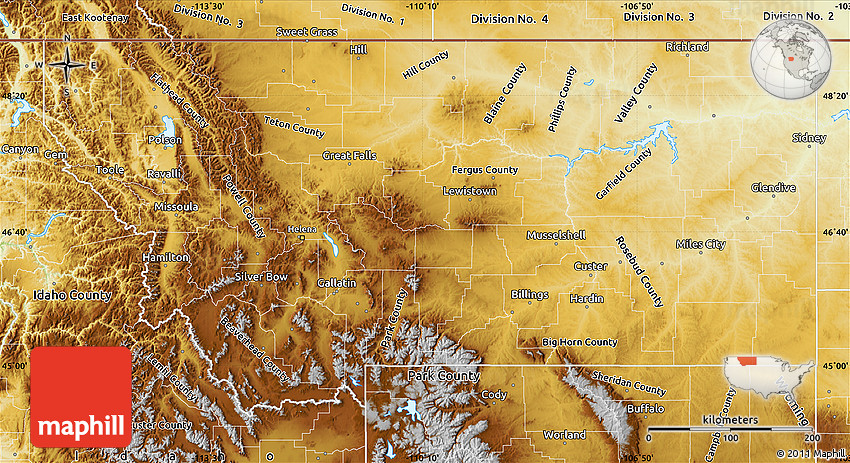 Amazing Physical Map Montana Afputracom - Montana blank physical map