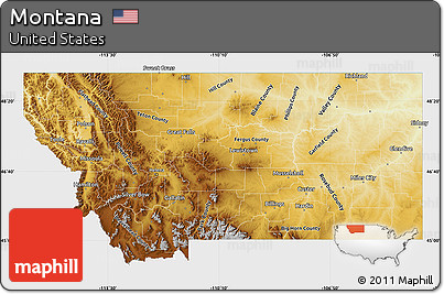Free Physical Map Of Montana Single Color Outside - Montana physical map united states