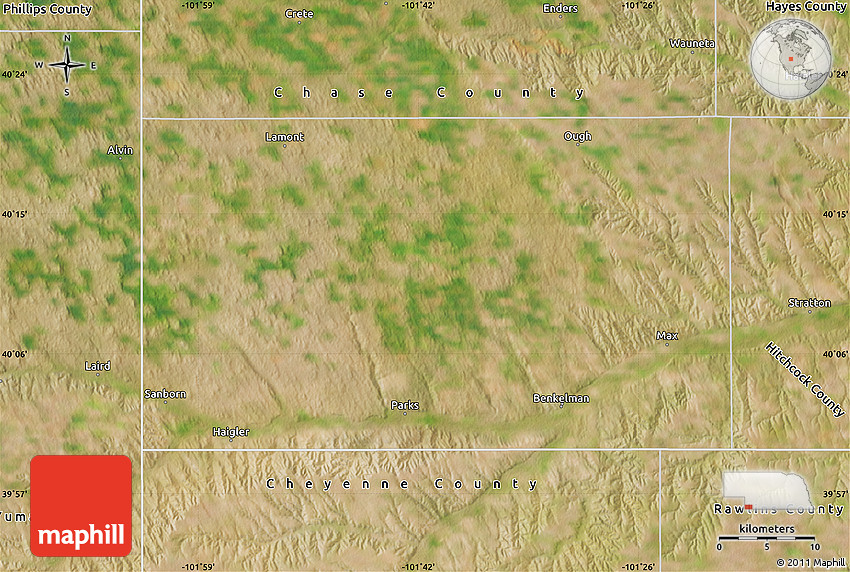 Satellite Map of Dundy County
