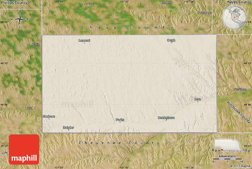 Shaded Relief Map of Dundy County, satellite outside