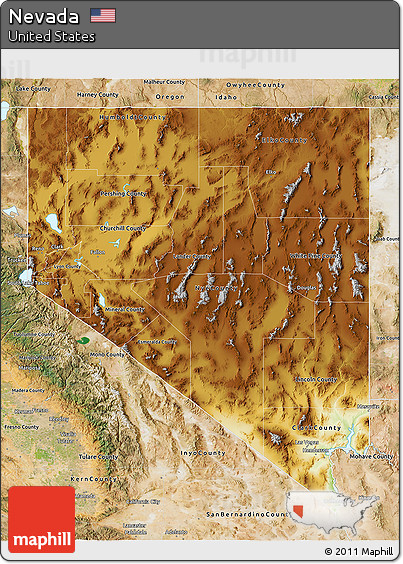 Free Physical D Map Of Nevada Satellite Outside - Mapofnevada