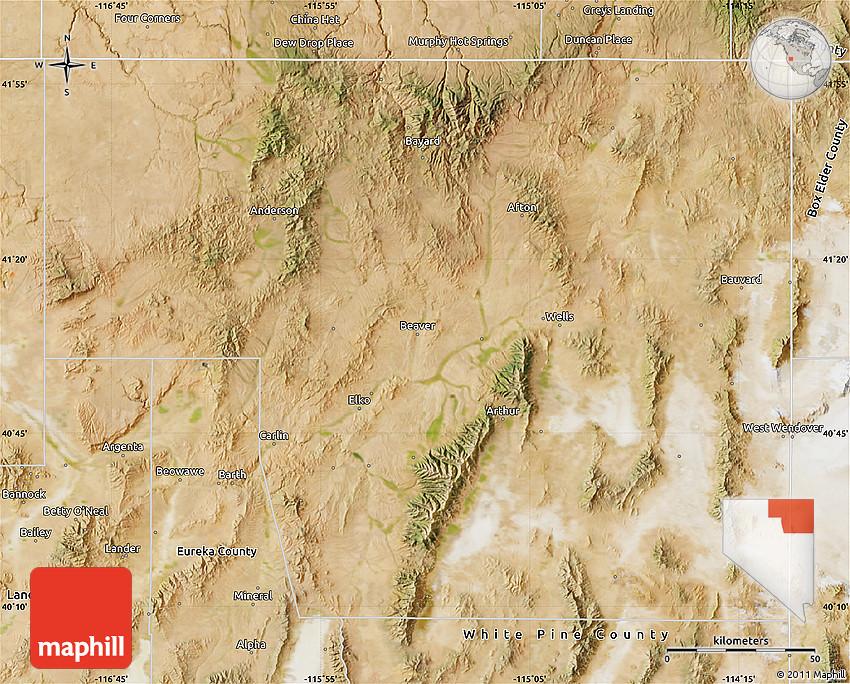 Satellite Map of Elko County on