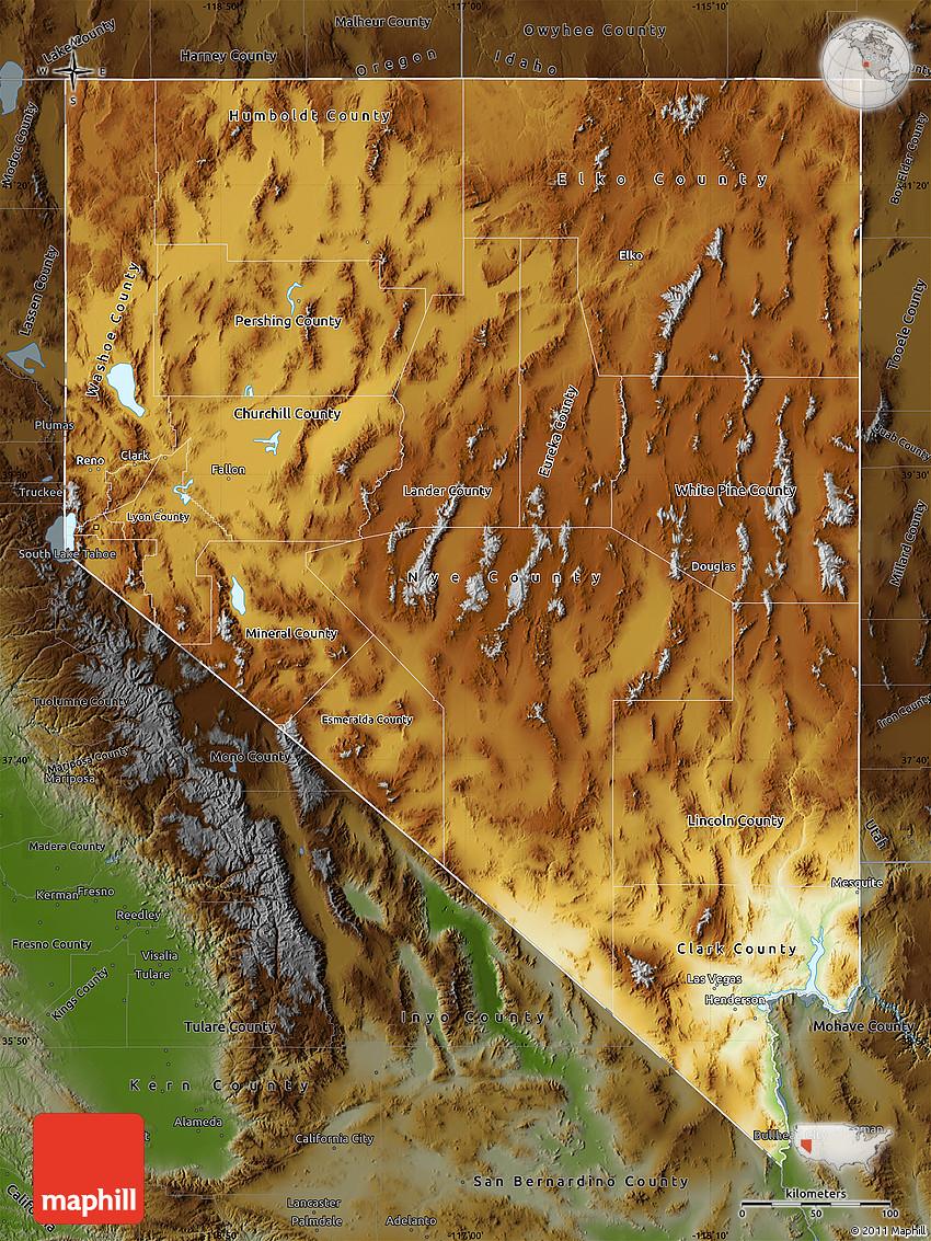 Physical Map of Nevada darken