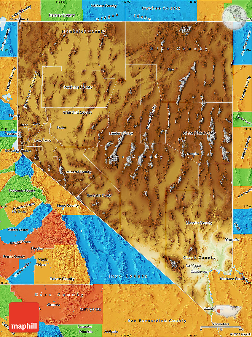 Physical Map Of Nevada Political Outside - Mapofnevada