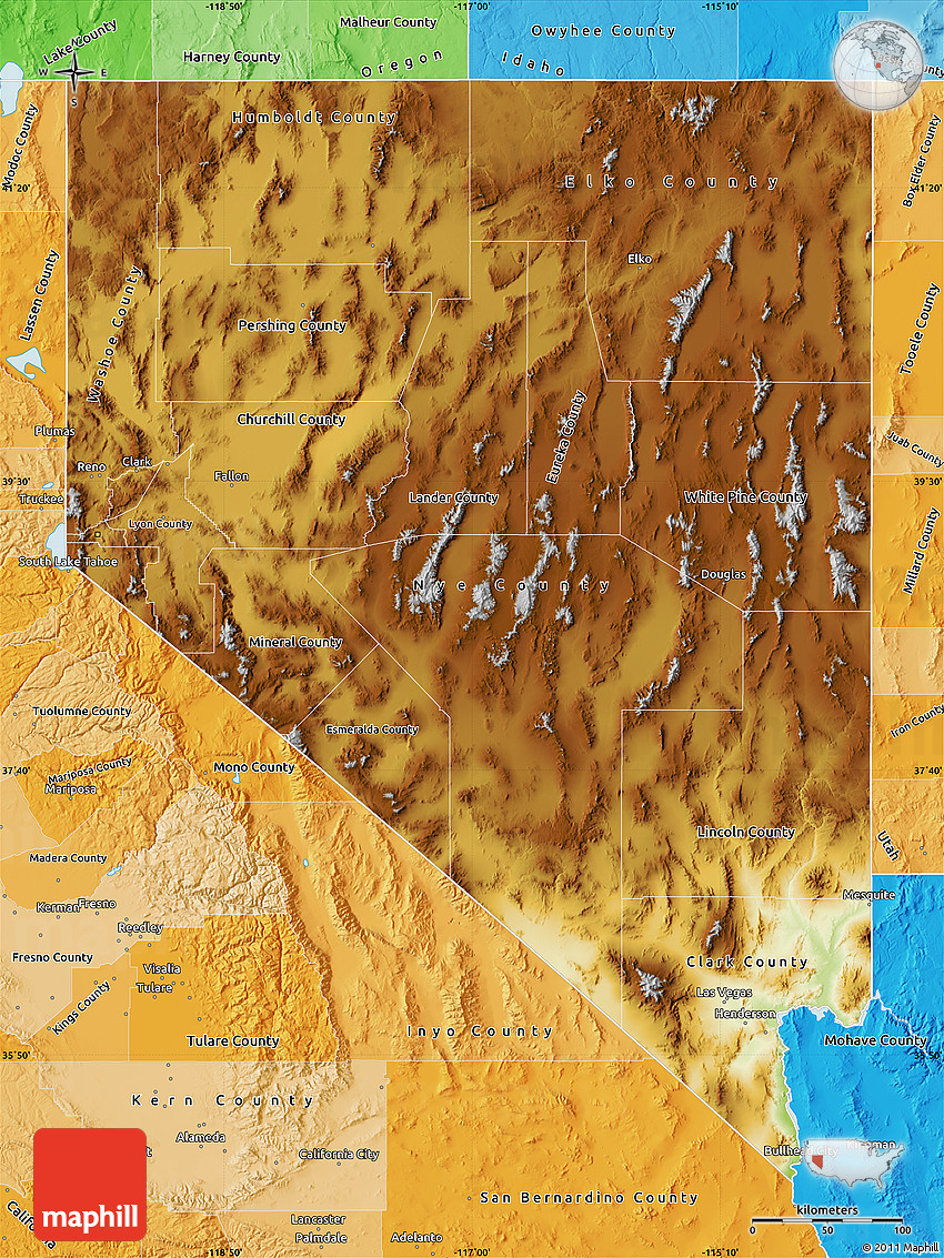 Physical Map Of Nevada Political Shades Outside - Mapofnevada