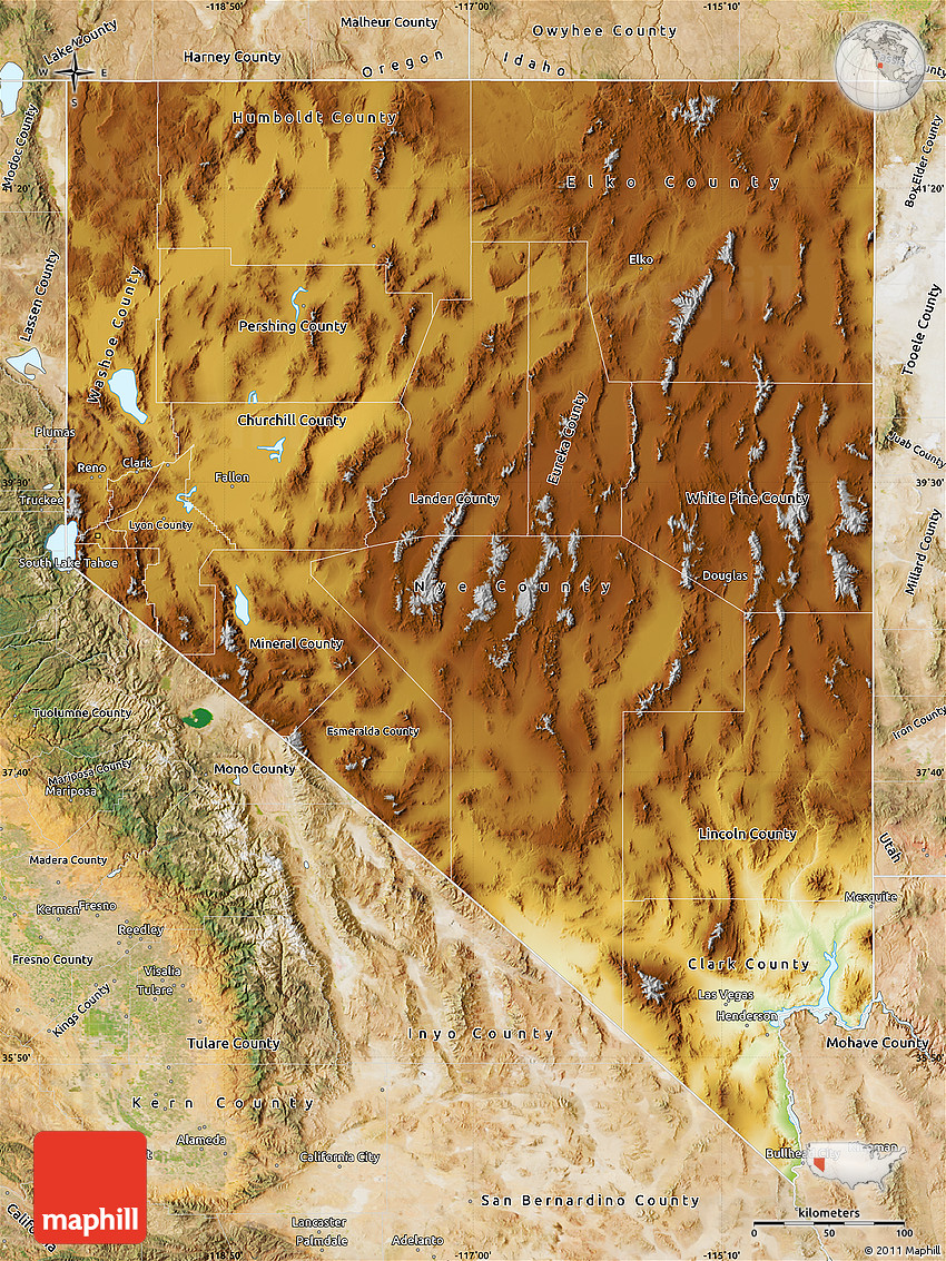 Physical Map of Nevada satellite outside