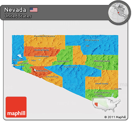 Political Map Of Nevada.Free Political Panoramic Map Of Nevada Single Color Outside