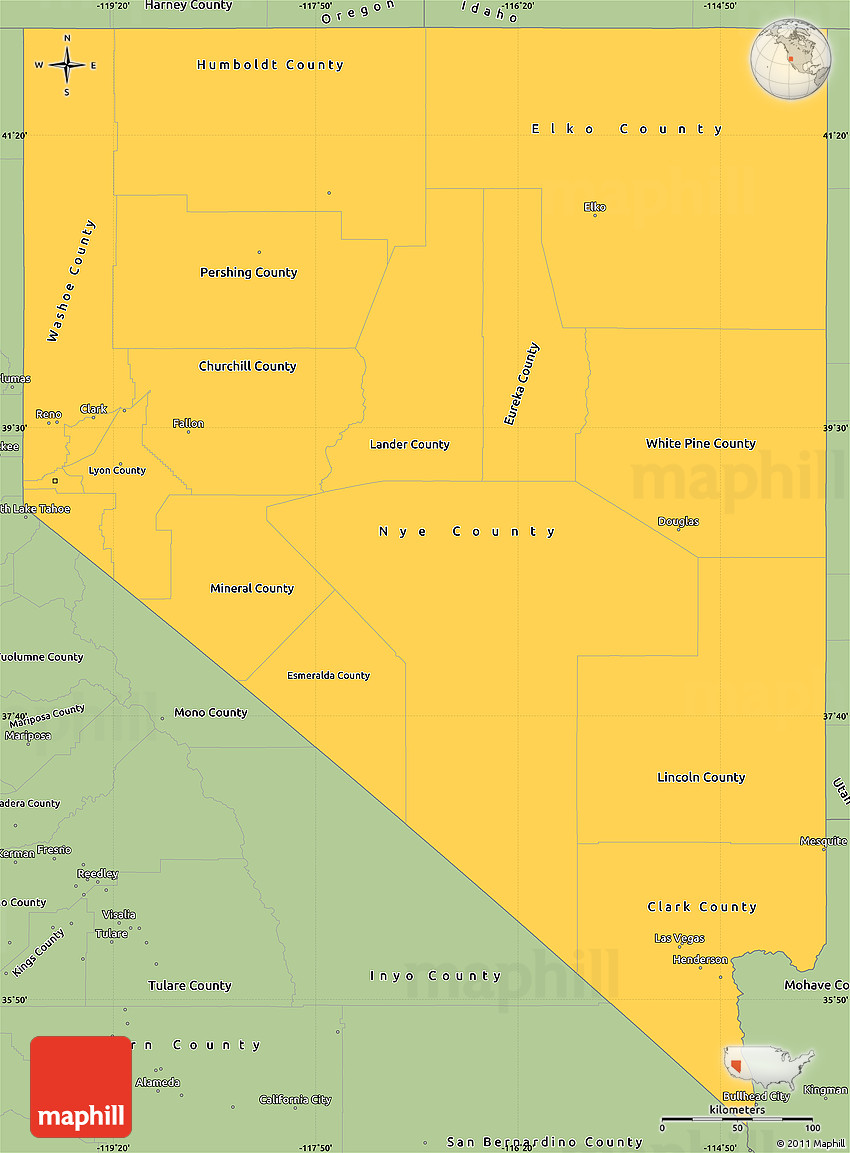 Savanna Style Simple Map Of Nevada - Mapofnevada
