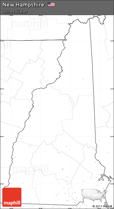 Free Blank Simple Map Of New Hampshire No Labels - Blank us map no states