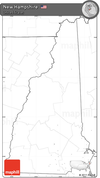 Free Blank Simple Map Of New Hampshire No Labels - Us map no labels