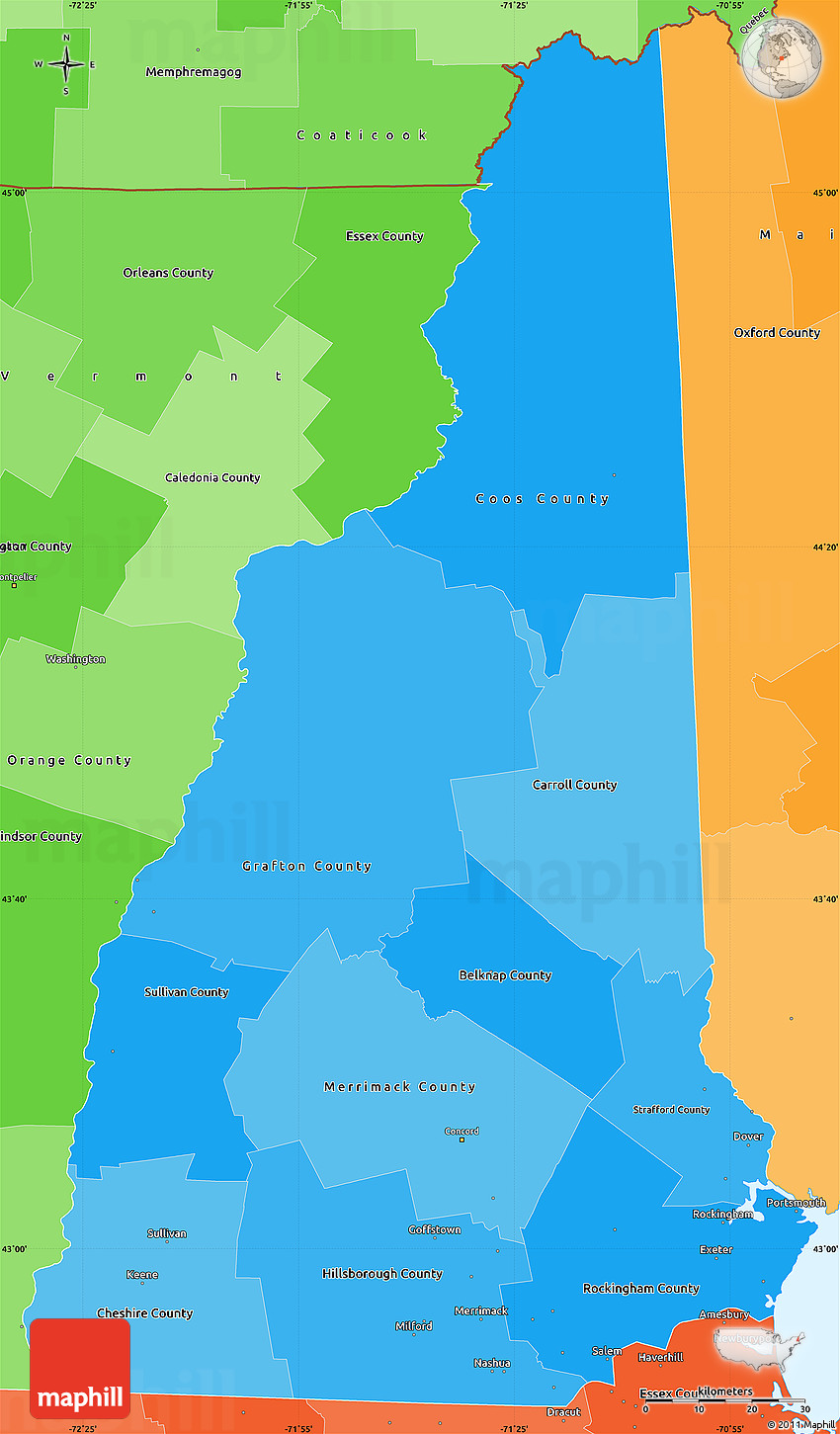 Political Shades Simple Map Of New Hampshire