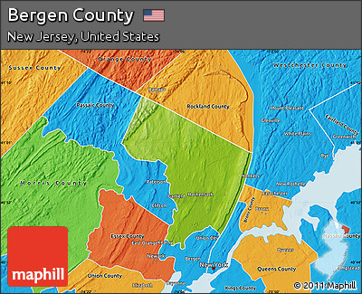 Free Physical Map Of Bergen County Political Outside