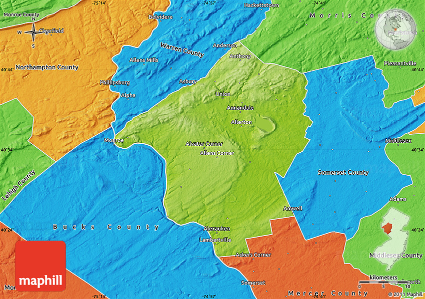 Physical Map of Hunterdon County, political outside on