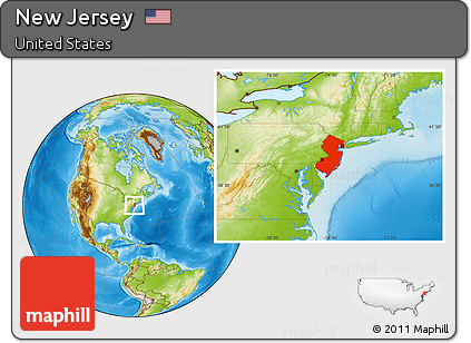 Free Physical Location Map of New Jersey