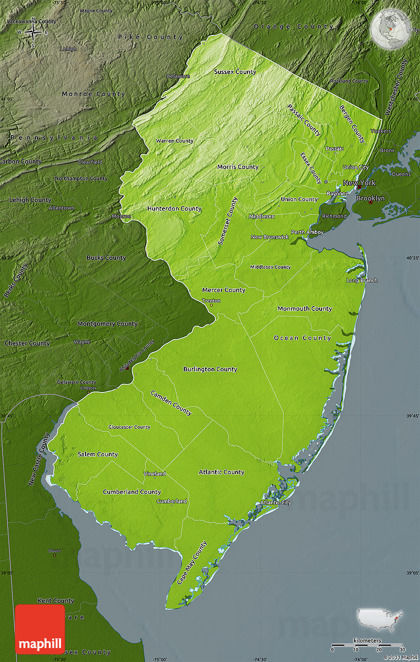 Physical Map of New Jersey, darken