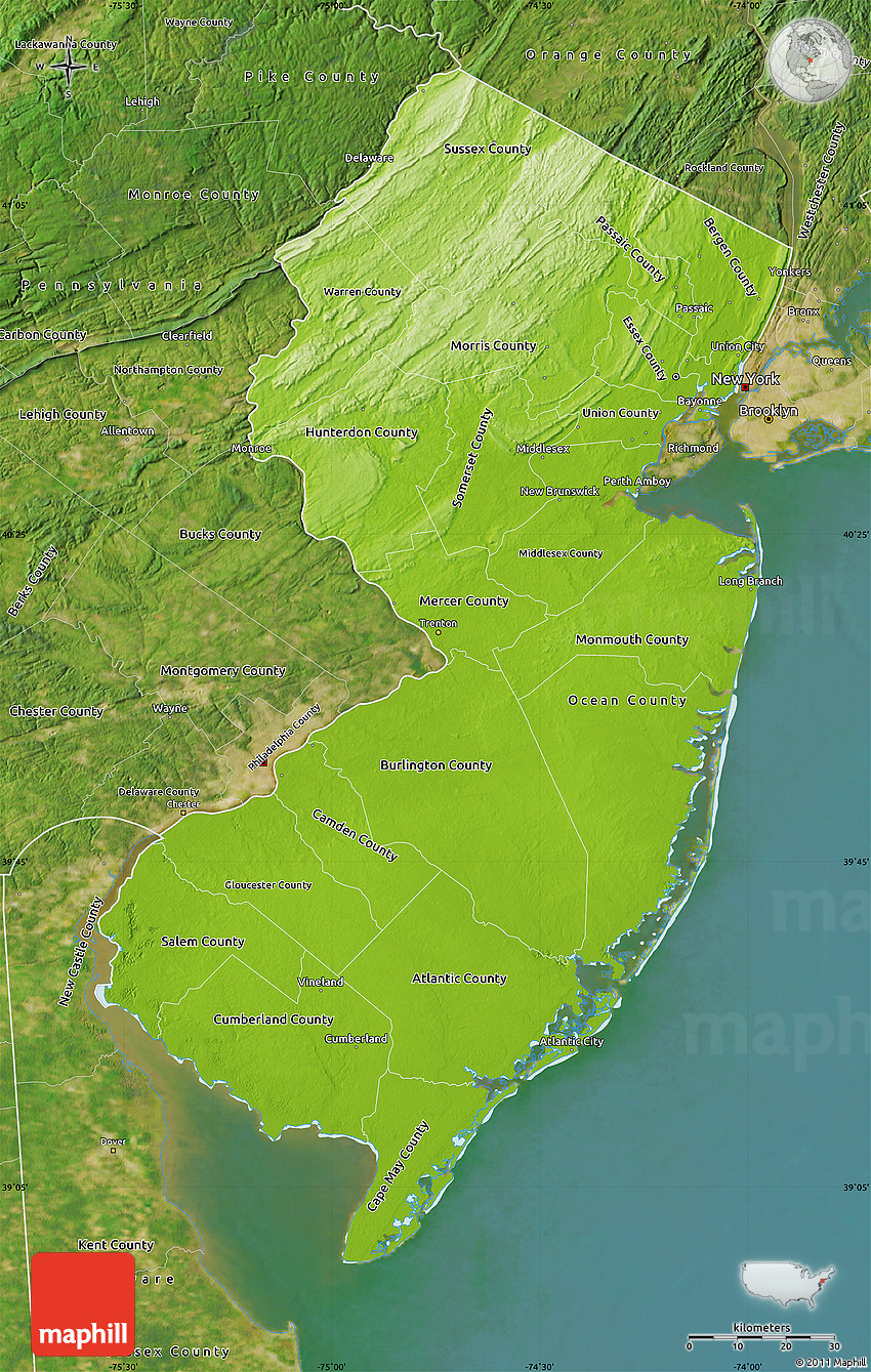 Physical Map Of New Jersey Satellite Outside - New jersey physical map