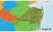 Satellite 3D Map of Monmouth County, political outside