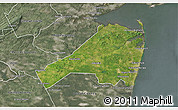 Satellite 3D Map of Monmouth County, semi-desaturated