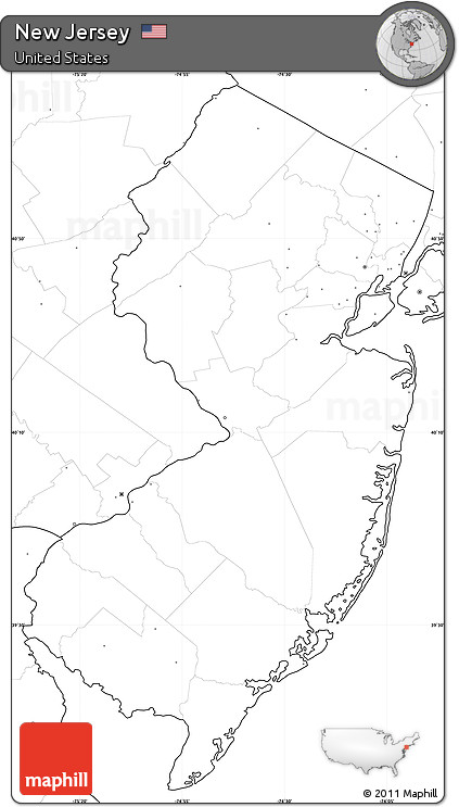 Free Blank Simple Map Of New Jersey No Labels - Us map no labels