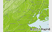 Physical Map of Union County