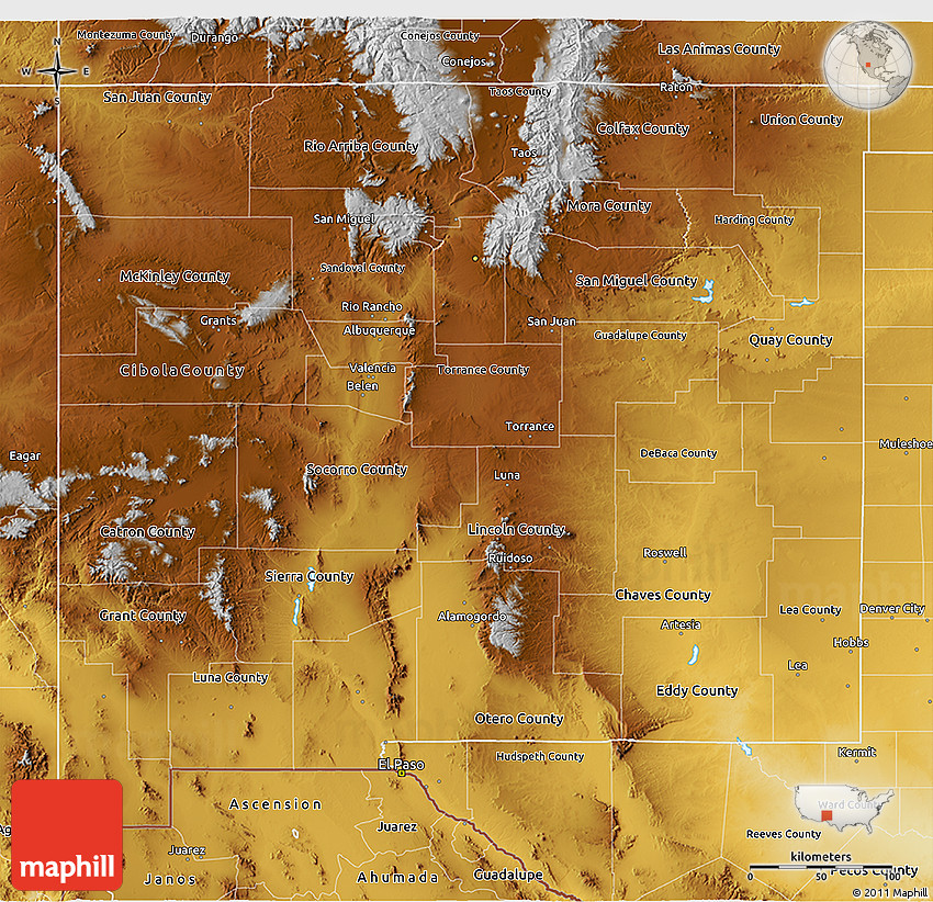 New Mexico On World Map.Physical 3d Map Of New Mexico