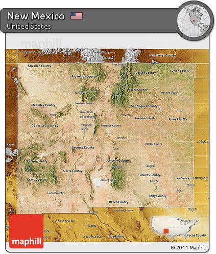 Free New Mexico Map.Free Satellite 3d Map Of New Mexico Physical Outside