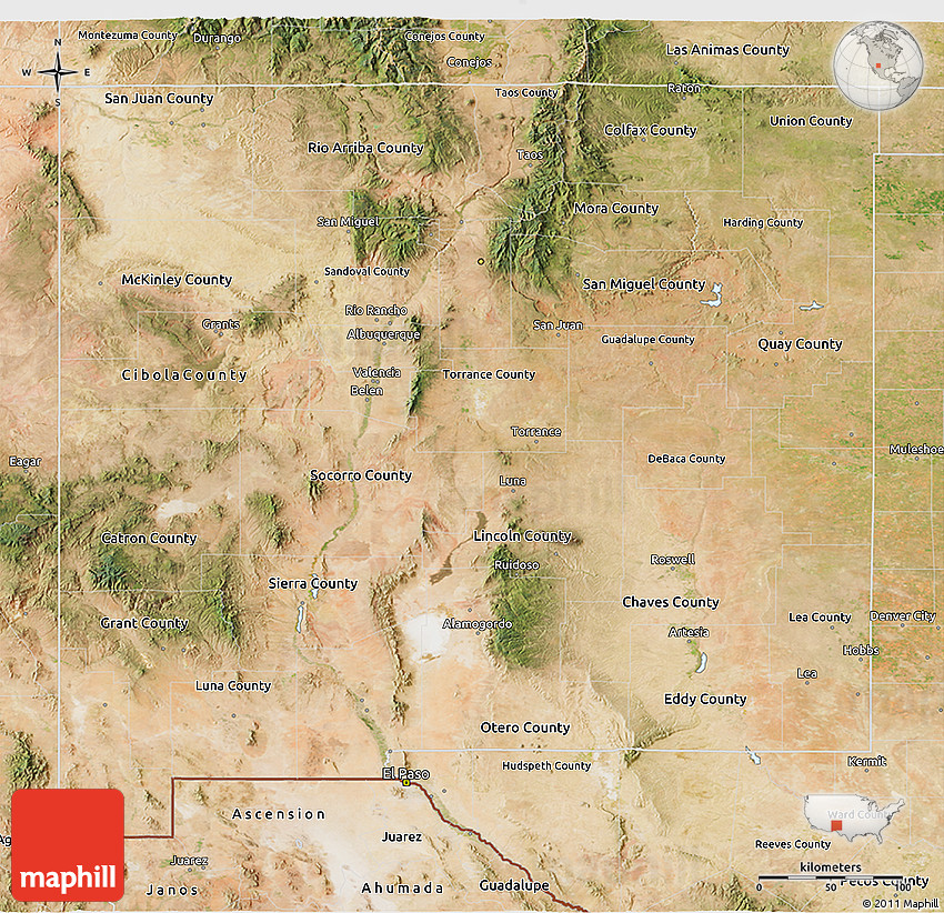 Satellite 3D Map of New Mexico on