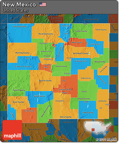 Free Political Map Of New Mexico Darken