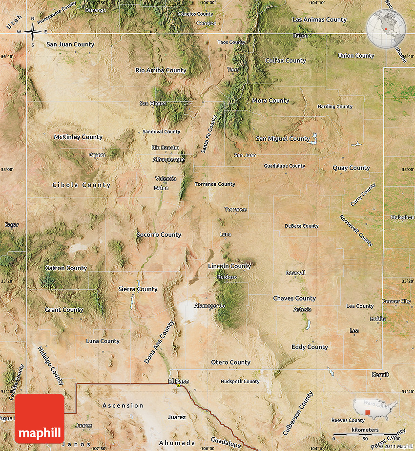North New Mexico Map.Satellite Map Of New Mexico