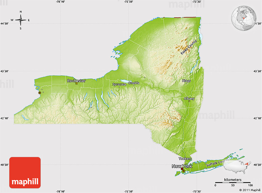 photo about Printable Maps of New York State referred to as Actual physical Map of Fresh new York, cropped outdoors