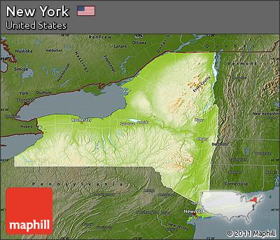 Free Physical Map Of New York Darken