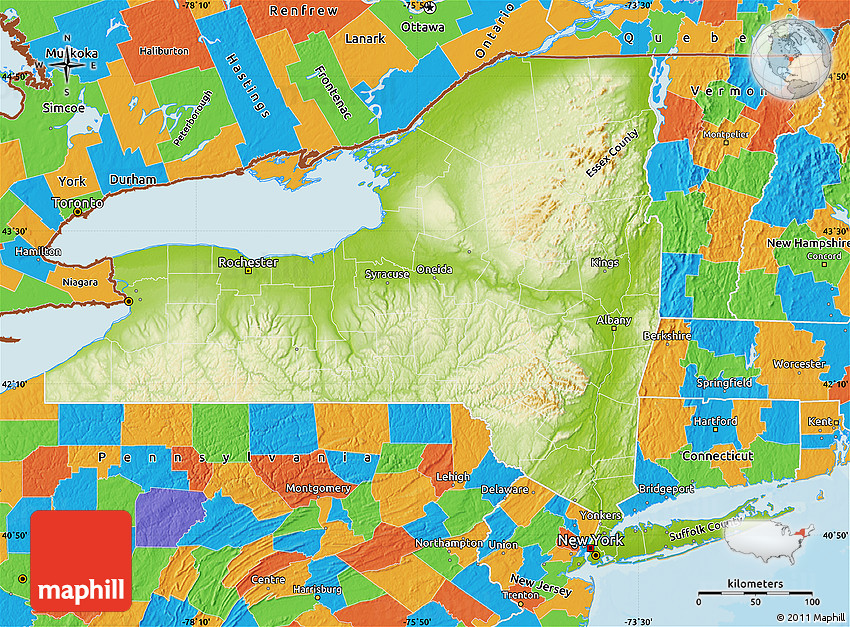Physical Map of New York, political outside