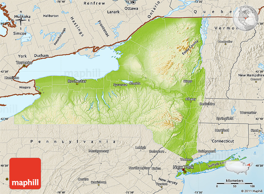 Physical Map of New York, shaded relief outside