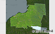 Satellite Map of Oswego County, darken