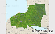 Satellite Map of Oswego County, shaded relief outside