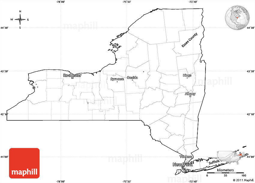 Blank Simple Map of New York, cropped outside