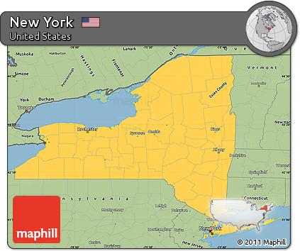 Free Savanna Style Simple Map of New York