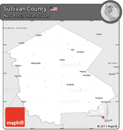 Free Silver Style Simple Map of Sullivan County