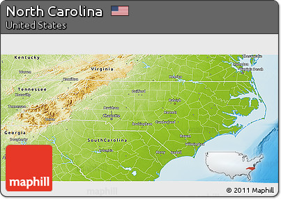 Free Physical 3D Map Of North Carolina