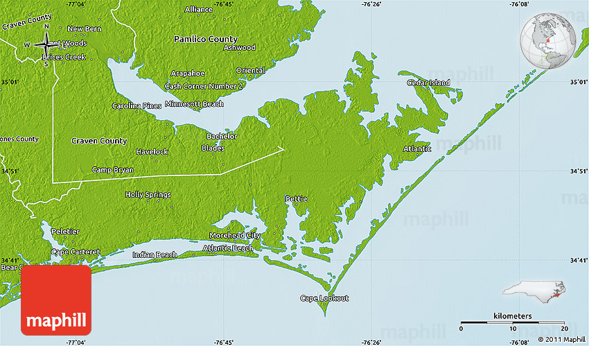 Physical Map of Carteret County on pamlico sound, edison county map, dare county, seagate map, outer banks map, washington county, onslow county, wayne county, morehead city, craven county, lincoln county, hyde county, jones county, pitt county, elm city map, emerald isle, pemberton county map, westwood county map, currituck county, beaufort county, edgewater county map, duplin county, magnolia county map, dayton county map, roosevelt county map, bergenfield county map, whiteville city map, kingsbury county map, beaufort map, lee county, englewood county map, audubon county map, trenton county map, cape lookout, indian beach, west long branch county map,