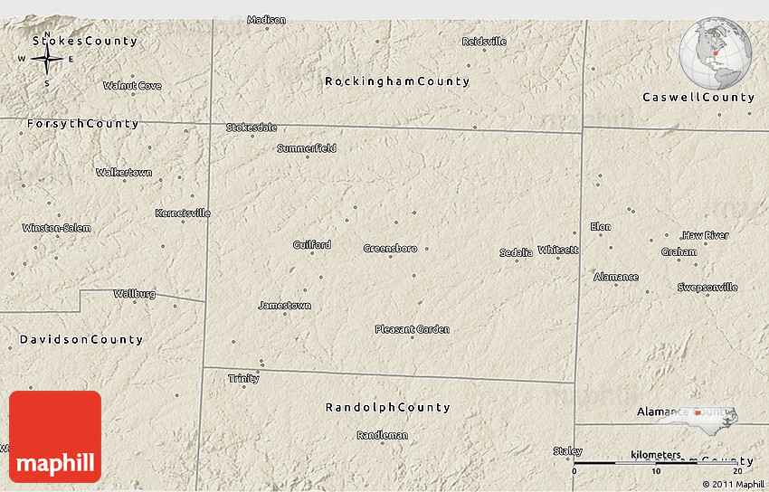 Shaded Relief 3d Map Of Guilford County: Guilford County Map At Slyspyder.com