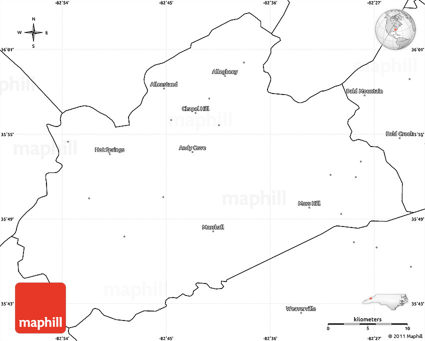 Blank Simple Map of Madison County